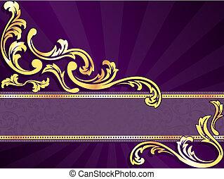 viola, orizzontale, bandiera, oro