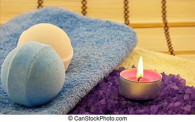 viola, palle, candela, sale bagno, wiih