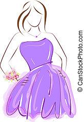 viola, prom, vestire, ragazza