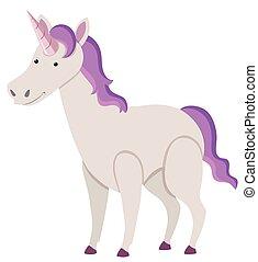 viola, sfondo bianco, unicorno