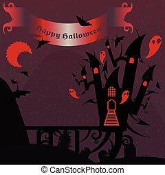 viola, testo, halloween, castello, bandiera, rosso