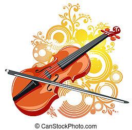 violino, astratto, modello