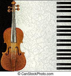violino, astratto, musica, pianoforte, fondo