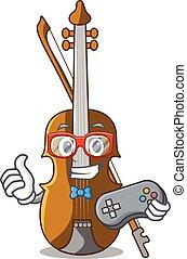 violino, cartone animato, stanza musica, gamer