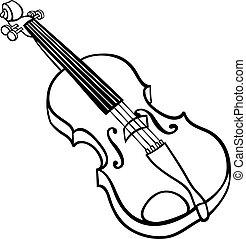 violino, coloritura, cartone animato, illustrazione, pagina