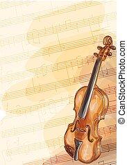 violino, fatto mano, fondo, note., musica