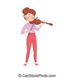 violino, gioco, vettore, illustrazione, strada, ragazza, giovane