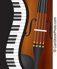violino, pianoforte, ondulato, bordo, illustrazione