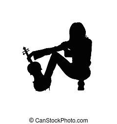 violino, ragazza, silhouette, illustrazione