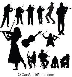 violino, set, lettori