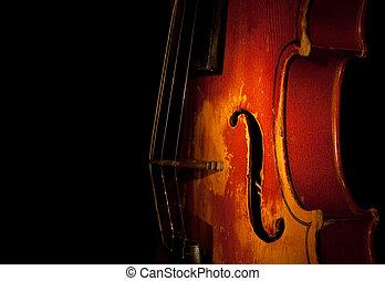 violino, silhouette, dettaglio