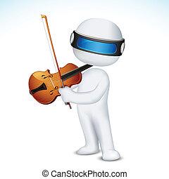 violino, vettore, gioco, uomo, 3d