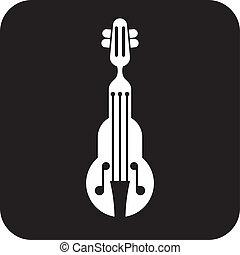 violino, vettore, icona