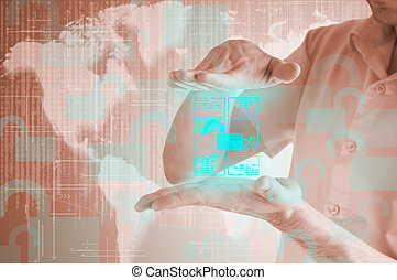 virtuale, accesso, uomo affari, documento, mostra, apre