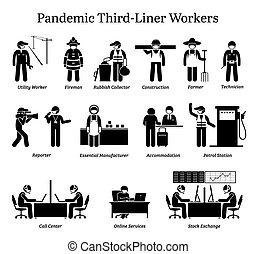virus, cliparts., lavorante, pandemia, third-liner