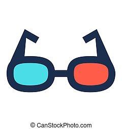 vision., occhio, illustrazione, segno, film, cinema, -, occhiali, vettore, icona, illusione, 3d