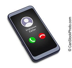 visitatore, far male, telefono, sconosciuto