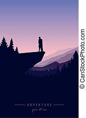 vista, avventura, scogliera, natura, coppia, montagna, amore