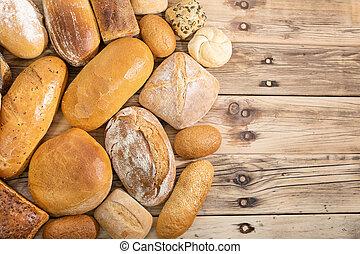 vista, contatore, uno, posto, tradizionale, vecchio, bakery., molti, above., negozio, bread, raccolto, generi, legno, decorazione