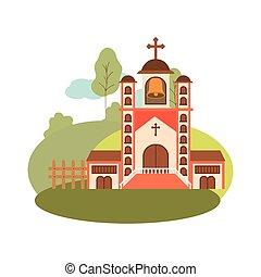 vista frontale, paesaggio, chiesa