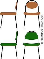 vista, illustrazione, fronte, cartone animato, marrone, sedie, ufficio, set, verde, lavoro, vettore, appartamento, lato, colors.