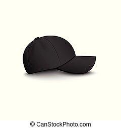 vista laterale, isolated., vettore, vuoto, berretto, mockup, nero, baseball, 3d, illustrazione