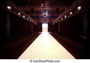 vista, prima, mostra, splendere, fronte, podio, inizio, moda