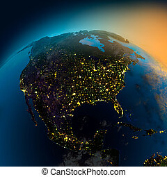 vista, satellite, america, nord, notte