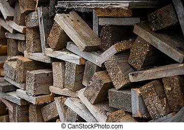 vista., uno, work., accatastato, lato, one., legno, costruzione, assi