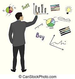 vista, uomo affari, mano, scarabocchiare, tabelle, indietro, tocco, grafici, finanza, completo
