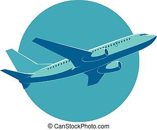 vista., volo, passeggero, fondo, aereo, vettore