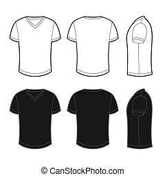 viste, indietro, fronte, t-shirt, vuoto, lato