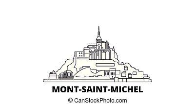 viste, vettore, simbolo, baia, mont, michel, landmarks., francia, linea, relativo, set., orizzonte, viaggiare, santo, città, illustrazione, contorno