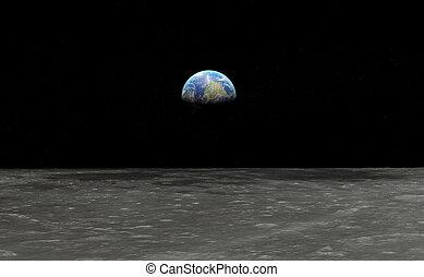visto, luna, terra
