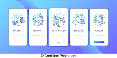 visto, pagina, domanda, concetti, app, schermo, mobile, onboarding