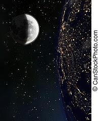 visto, terra, luna