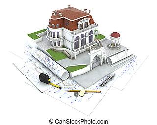 visualizzazione, casa, disegno, architettura, progresso, disegno