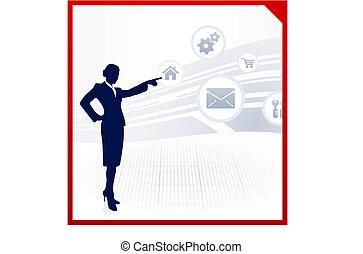 visualizzazione, icone, internet, donna d'affari