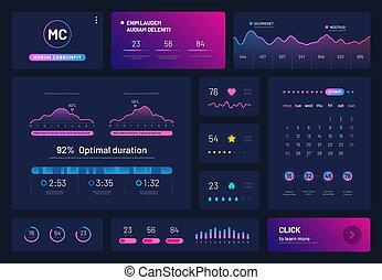 visualizzazione, statistica, finanza, calendar., tabelle, analisi, grafici, infographics., vettore, commercio, piattaforma, dati, mostra, cruscotto
