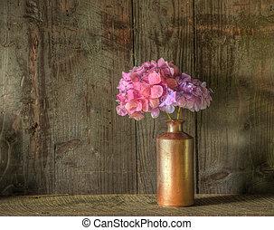 vita, ancora, alterato, legno, immagine, contro, vaso, rustico, secco, fondo, fiori
