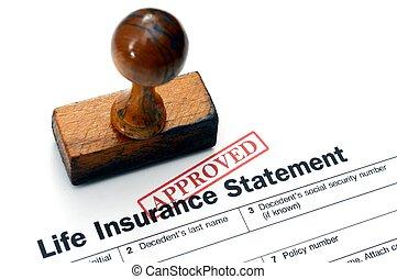 vita, -, assicurazione, approvato