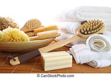 vita, assortito, spazzole, bagno, asciugamani, spugne, terme, bianco, ancora, sapone