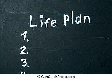 vita, blackboard., gesso, scritto, piano, frase
