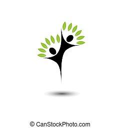 vita, concetto, eco, gioia, -, albero, vettore, logotipo, icon., amici, saltare