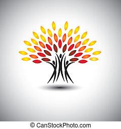 vita, concetto, felice, gioioso, eco, persone, -, albero, vector.