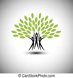 vita, concetto, felice, gioioso, eco, persone, -, albero, vettore, icona