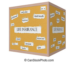vita, concetto, parola, corkboard, cubo, assicurazione, 3d