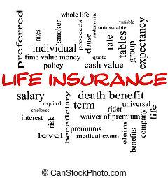 vita, concetto, parola, lavagna, assicurazione, nuvola