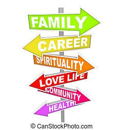 vita, cose, -, priorities, importante, freccia, segni, equilibrio