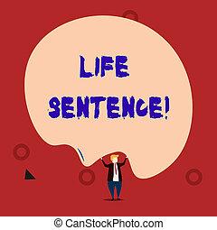 vita, foto, molto, testo, sentence., lungo, segno, essendo, time., esposizione, prigione, mettere, concettuale, punizione